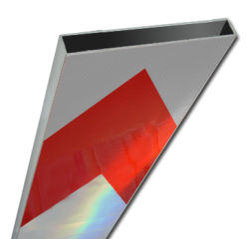 Schrikhekplank 4000mm lang kokerprofiel pijlmotief. RVV BB18-1 hekplank, schrikhek, rood, witte, planken, schrikplank, afzethek, blokken, RVV BB15-2, BB15