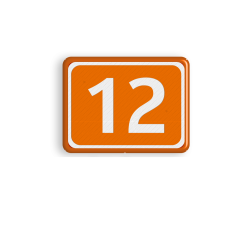 Parkeerplaatsnummer 270x200x28mm DOR - Oranje/wit