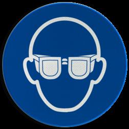 Product Oogbescherming verplicht Pictogram M004 - Oogbescherming verplicht M004 NEN7010, veiligheidspictogram, bril, bescherming, gezicht, ogen, oog, veiligheidsbril, ondoorzichtig
