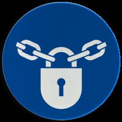 Product Vergrendeling verplicht Pictogram M028 - Vergrendeling verplicht M028 NEN7010, veiligheidspictogram,  Vergrendelen, afsluiten, op slot,