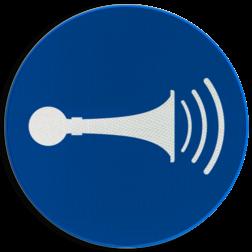 Product M029 - Akoestisch geluidssignaal geven Pictogram M029 - Akoestisch geluidssignaal geven NEN7010, veiligheidspictogram, Signaal, Geluid, toeter, toeteren, waarschuwen, waarschuwing, signaleren