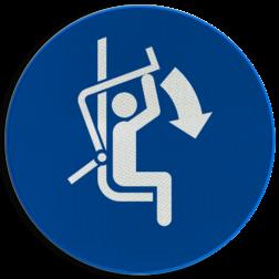 Product M033 - Sluit de veiligheidsbeugel Pictogram M033 - Sluit de veiligheidsbeugel NEN7010, veiligheidspictogram, Veiligheid, Beugel, sluiten, Ski, Skiën, Skilift, Sneeuw,