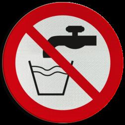 Product Geen drinkwater Pictogram P005 - Geen drinkwater P005 Drinken, consumeren, drink water, water, kraan, niet drinken, pictogram, symbool, teken, NEN, 7010,  reflecterend, sticker, klasse 1, klasse 3, vlak, bordje, paneel, kunststof, aluminium, veiligheid, verbod,