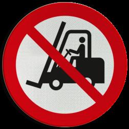 Product Geen toegang voor vorkheftrucks Pictogram P006 - Geen toegang voor vorkheftrucks en andere industriële voertuigen P006 heftruck, machine, apparaat, vorkheftrucks, industriële, voertuigen, verboden, toegang, pictogram, symbool, teken, NEN, 7010,  reflecterend, sticker, klasse 1, klasse 3, vlak, bordje, paneel, kunststof, aluminium, veiligheid, verbod,