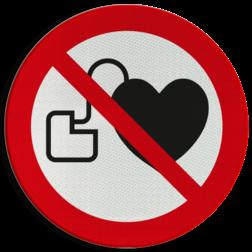 Product P007 - Geen toegang voor personen met pacemaker Pictogram P007 - Geen toegang voor personen met pacemaker Verboden, toegang, pacemaker, hartimplantaten, pictogram, symbool, teken, NEN, 7010, reflecterend, sticker, klasse 1, klasse 3, vlak, bordje, paneel, kunststof, aluminium, veiligheid, verbod,