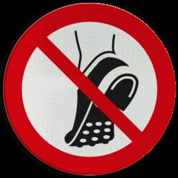 Product P035 - Schoenen met metalen noppen verboden Pictogram P035 - Schoenen met metalen noppen verboden anti slip zolen, geen profiel, werkschoenen, pictogram, symbool, teken, NEN, 7010, reflecterend, sticker, klasse 1, klasse 3, vlak, bordje, paneel, kunststof, aluminium