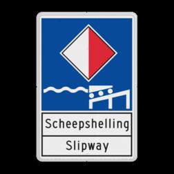 Scheepvaartbord Toestemming te meren aan de zijde van de vaarweg waar het bord is geplaatst Scheepvaartbord BPR A.xx - Informatiebord - scheepshelling aanmeren, schip, E7, aanleggen