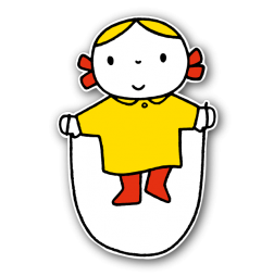 Dick Bruna - Silhouetbord meisje met springtouw Nijntje, vvn, school, schoolzone, kinderdagverblijf, crèche, creche, Miffy, Silhouet,