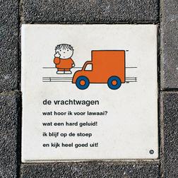 Dick Bruna Stoeptegel - de vrachtwagen - 300x300mm tegel, lesbord, schoolpleintegel, schoolpleinbord, rookvrije generatie