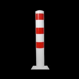 Rampaal Ø152x1000mm met vaste voetplaat - wit/rood of verzinkt Stalen paal, anti kraak, aanrijbeveiliging, Rampaal, Afzetpaal, Ramkraak, Magazijn, Inrichting, Juwelier, Bank, Ramzuil, veilig, ram, Menhir, Beveiliging