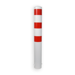 Rampaal Ø273x2000mm met grondmontage, verzinkt of wit/rood Stalen paal, anti kraak, aanrijbeveiliging, Rampaal, Afzetpaal, Ramkraak, Magazijn, Inrichting, Juwelier, Bank, Ramzuil, veilig, ram, Menhir, Beveiliging