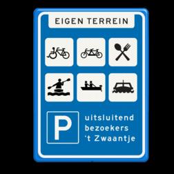 Verkeersbord RVV BW203 Rest. Zwaantje Informatiebord, parkeren, parkeerbord