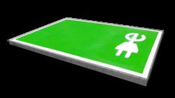 Wegmarkering - Oplaadpunt volledig vak groen/wit (E-stekker) wegmarkering, grondmarkering, vloermarkering, vloer, markering, weg, grond, opladen, oplaad, elektrisch, parkeren, wegenverf, thermoplast, groen, blauw, parkeervak, belijning, symbool, pictogram, markeer, terrein, vloer, parkeergarage, garage