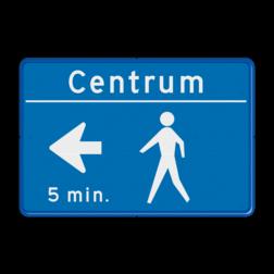 Tekstbord blauw/wit voetgangersroute zelf tekstbord maken, tekst invoeren, blauw bord, voetgangersbord, voetganger