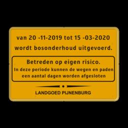 Informatiebord geel/zwart + kader en logo (1 kleur) Tekstbord, WIU bord, tijdelijke verkeersmaatregelen, werk langs de weg, omleidingsborden, tijdelijk bord, werk in uitvoering, 3 regelig bord