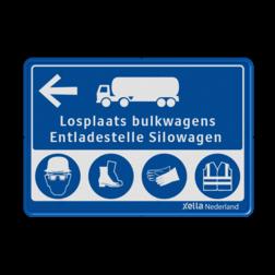 Routebord ANWB stijl Routebord Bulktransport blauw/wit VEILIGHEIDSBORDEN zelf tekstbord maken, tekst invoeren, blauw bord